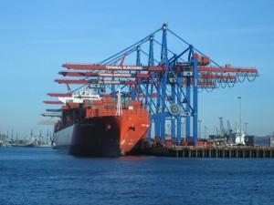 Grues sur le port de Hambourg
